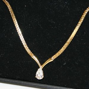 Gold Plated Weave Necklace With Tear Drop CZ